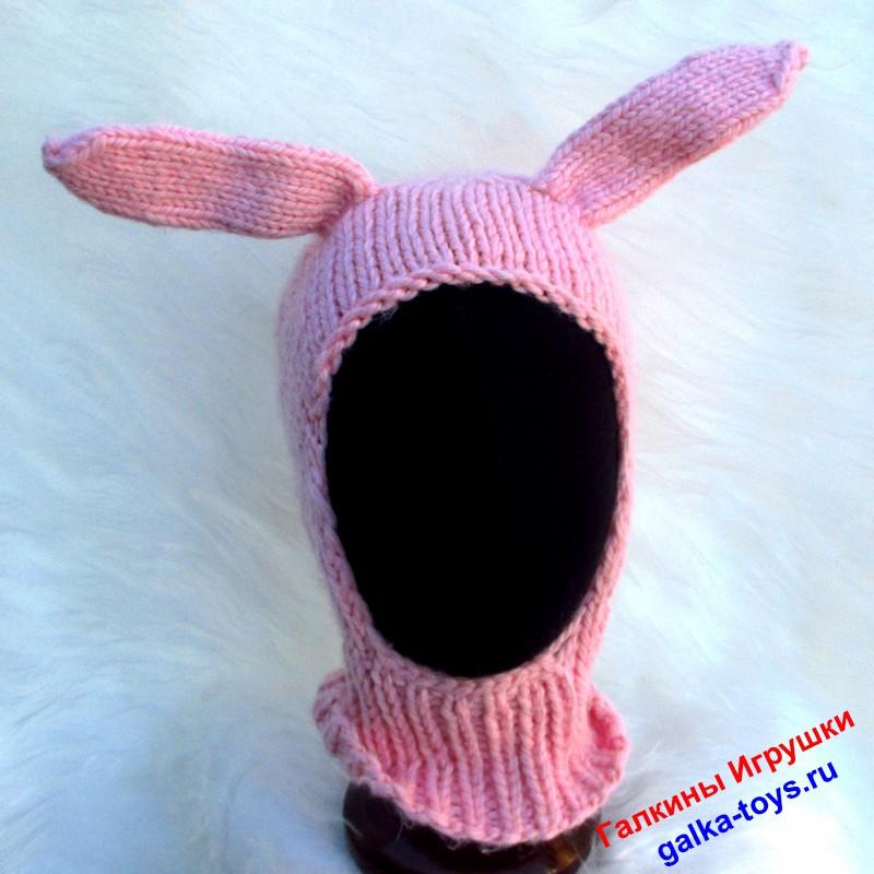 Шапка — шлем Зайчик розовый