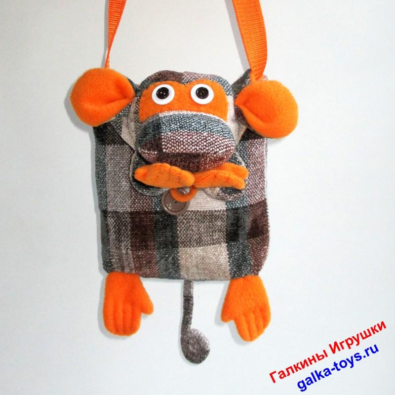 Обезьянка — сумочка для девочки. Ремешок через плечо