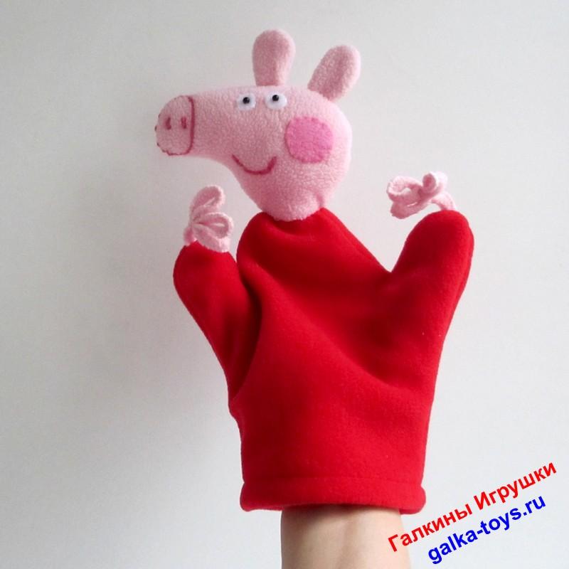 Игрушка Свинка Пеппа из мультика. Перчаточная игрушка
