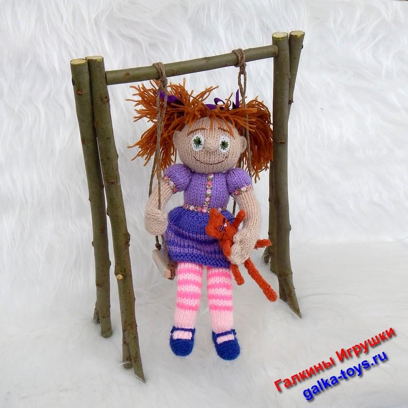 Рыжая кукла. Вязаные куклы спицами.