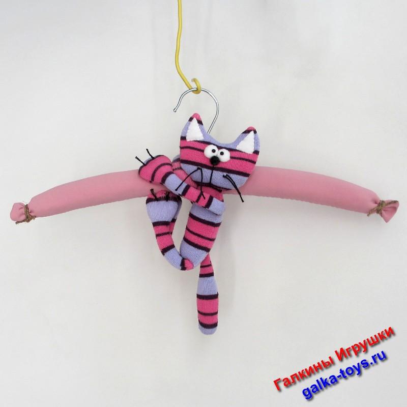 Вешалка под одежду полосатый котик