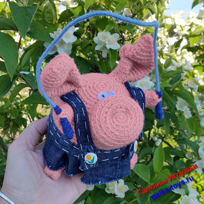 Вязаная свинка — шкатулка для бижутерии