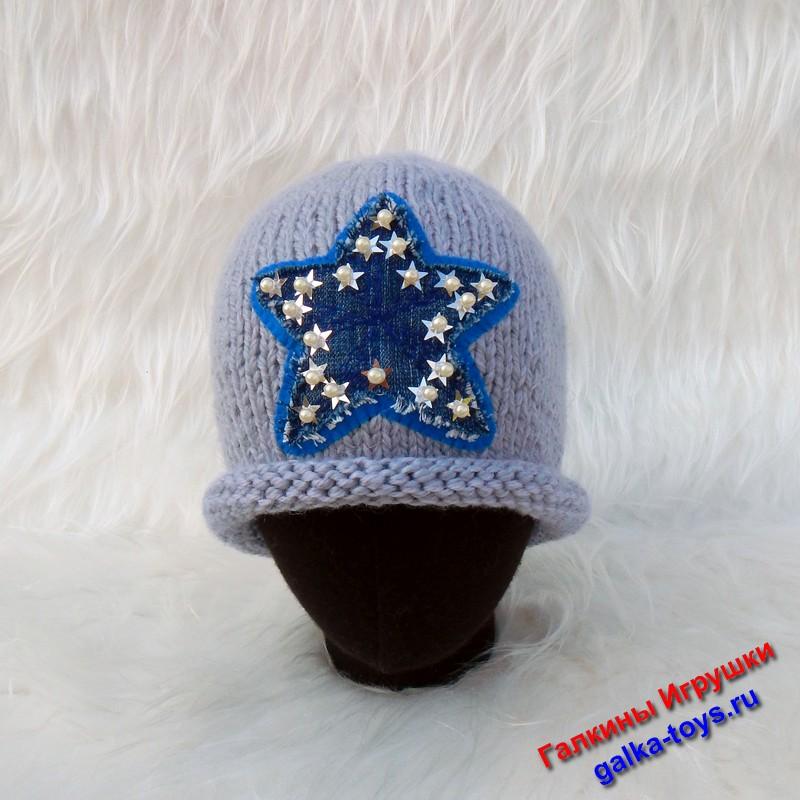Женская шапка вязаная спицами. Шапка со звездой спицами