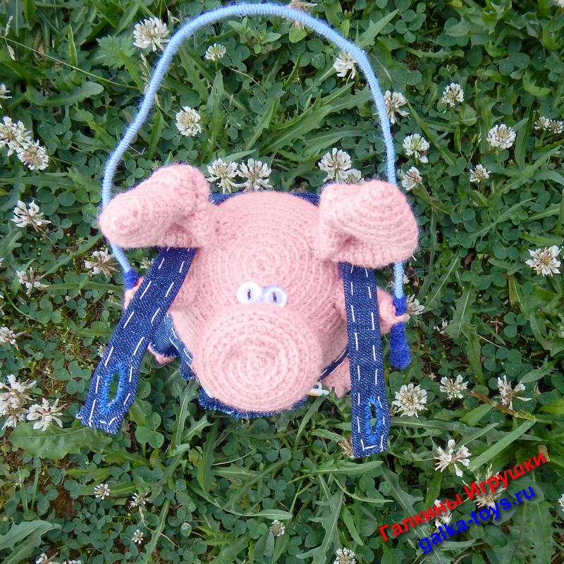 вязаная свинка шкатулка для бижутерии галкины игрушки авторские