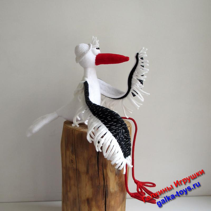 Мягкая игрушка Аист с большими крыльями
