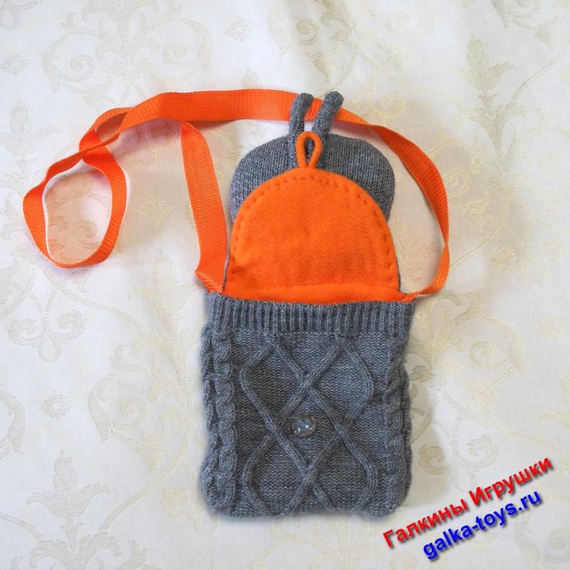 Зайчик трикотажный, подкладка сумки из оранжевого флиса.
